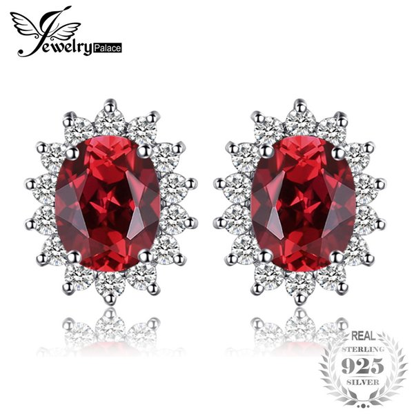 JewelryPalace Princess Diana William Kate Middleton's 1.3ct Natural Garnet Halo Stud Earrings Solid 925 Sterling Silver Jewelry S18101206