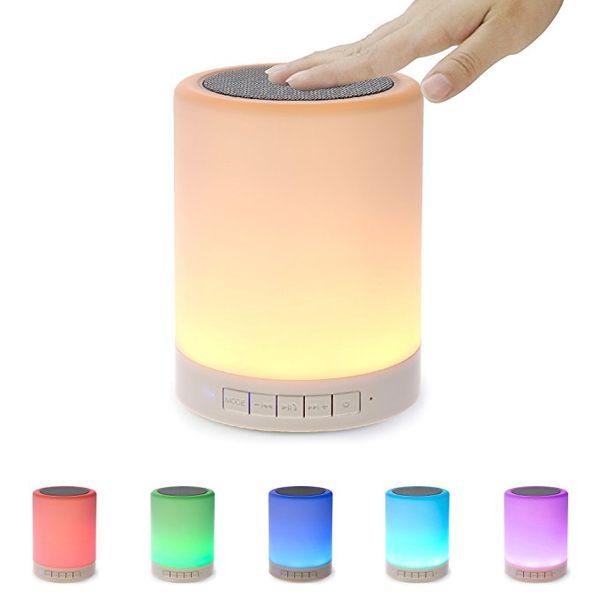 Night Light Bluetooth Speaker Portable Wireless Bluetooth Speakers Touch Control Color LED Speaker Bedside Table Lamp Speakerphone