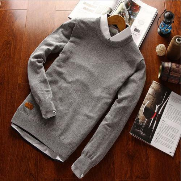 Großhandels-Heiße Verkäufe 2017 Männer Winter Herbst Warm Schlank Knit Pullover Langarm Oansatz Pullover Jumper Plain Tops Shirt