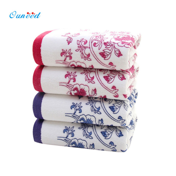 Happy Home Chinese Style Blue and white porcelain Towel 34*74cm Elegant Embroidered Bathroom Face Hand Towels