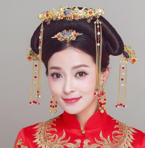 Costume da sposa, copricapo, corona di Phoenix, rilievo comico in stile cinese, spedizione gratuita