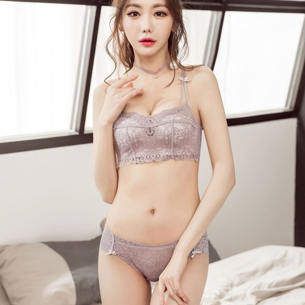 Floral lace small lingerie for student, push up adjustable young girls wireless bra and panty sets 2018 new sexy underwear