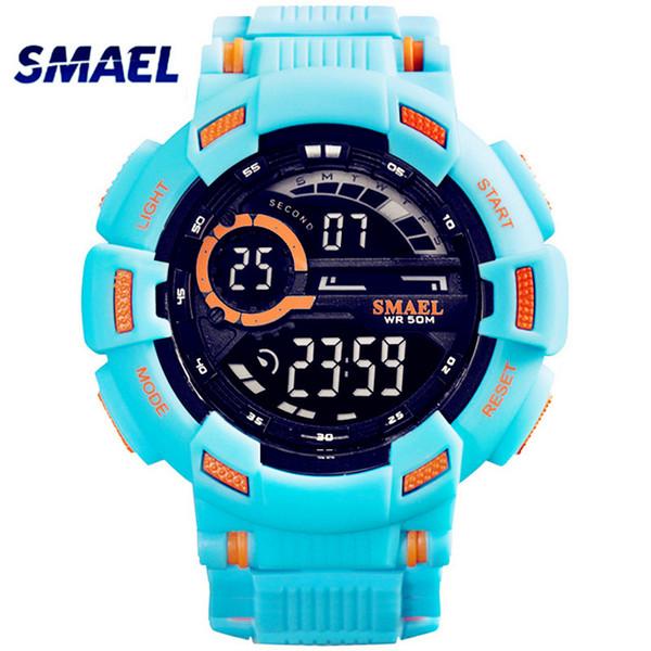 SMAEL Digital Mens Watches 50m Waterproof LED Clock Men Cool Sport Watch S Boys Wristwatch for Man saat erkekler