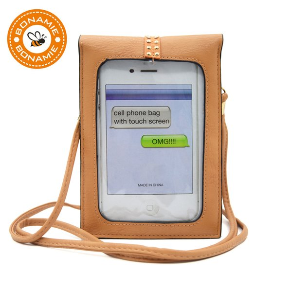 BONAMIE Functional Cell Phone Bag With Touch Screen Small Women Brown Leather Crossbody Bag Female Punk Lock Messenger