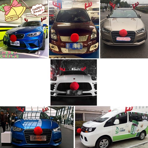 35*52CM CHRISTMAS Reindeer Antlers Car Costume Antlers & Nose Set Auto Outfits The Original Xmas Reindeer Nose Antler Car Costume Kit
