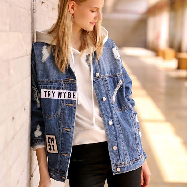 Denim Jacket Coat Korean Patchwork Vintage Hole Casual Streetwear Cotton Overcoat Women Plus Size Outwear Autumn Winter 2018