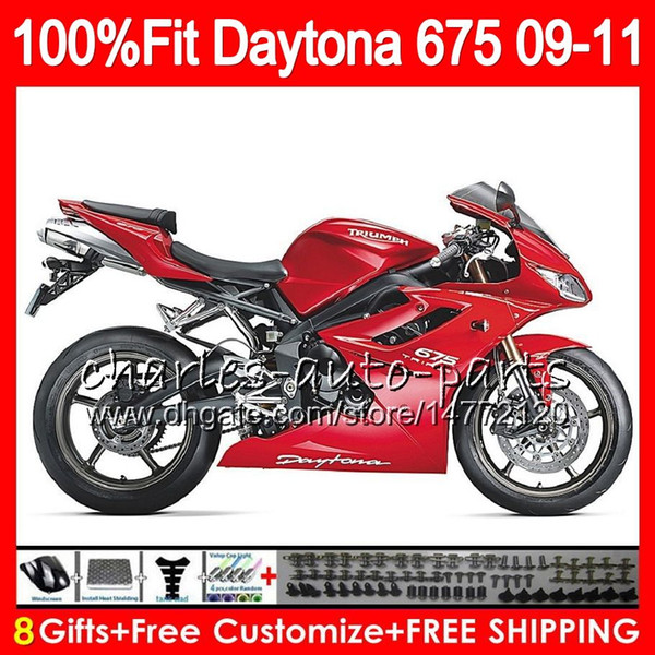 Injection For Triumph Bodywork Factory red Daytona 675 2009 2010 2011 2012 107HM.44 Daytona 675 09 10 11 12 Daytona-675 Daytona675 Fairing