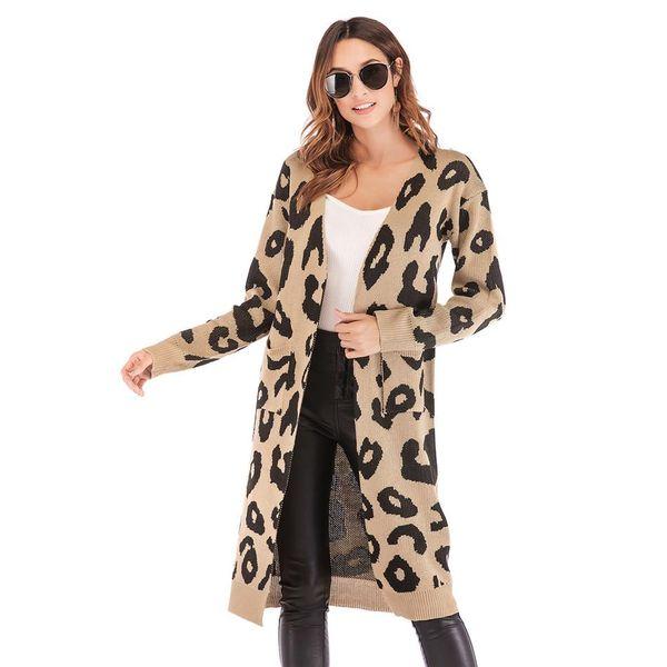 Women Christmas Knitted Cardigan Sweater Leopard Snowman Reindeer Print Long Sleeve Pocket Long Knitwear Autumn Winter Outerwear NB-499