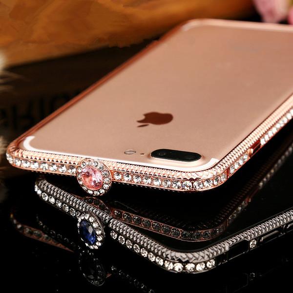 Bling Luxury Diamond Metal Bumper Frame per iPhone X 6 7 8 Plus Fashion Style Rhinestone di cristallo Caso di copertura Glitter Capa