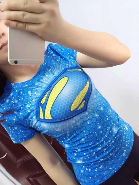 Corrida de compressão Camiseta Mulheres Superhero // Esportes Tops de Secagem Rápida-Apertado Sports Wear Mulher