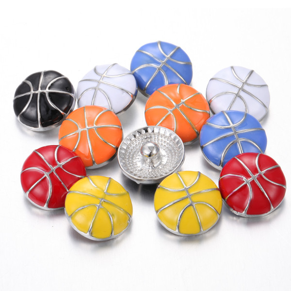 Sports Snap Jewelry basketball football baseball 18mm Snaps Button for Sports 18mm snap bracelet bangles noosa