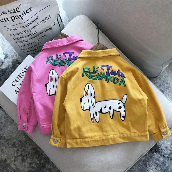 2018 Autumn Baby Girls Coat Kids Cartoon Letters Jacket Children Long Sleeve Short Outwear Coats Yellow Rose 14081