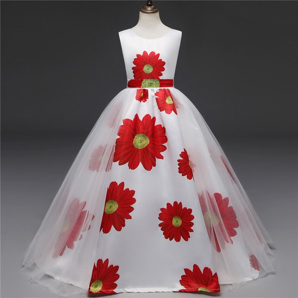 New Exclusive Features European and American Teen Girls Retro Sunflower Print Dress Girls Mesh Princess Dress