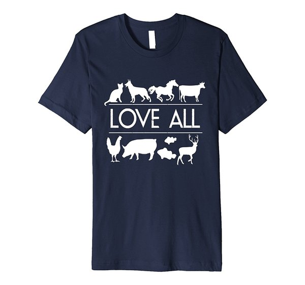 Love All : Vegan , Vegetarian , Animal Rights T Shirt Cotton Low Price Top Tee For Teen Boys Fashion Style 2017 Latest