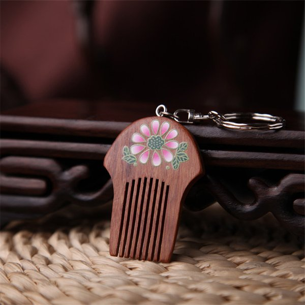 New Handmade Wood Pendant Keychain Vintage Chain Flower Pattern Comb Antique Women Key Chain Gift To Girl