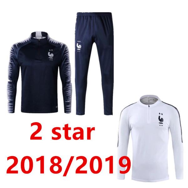 2018/19 Zwei Sterne französischer Trainingsanzug Trainingsanzug Mann GRIEZMANN MARTIAL POGBA Giroud Jacke Trainingsanzug SIZE S-XL Chandal Set