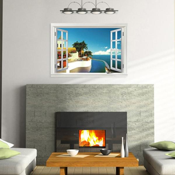 hermosos diseños de pared de dormitorio Compre Hermosos Accesorios Para El Hogar Estilo De Playa Pegatinas De Diseo Pegatinas De Pared Removibles Dormitorio Y Sala De Estar A 804 Del