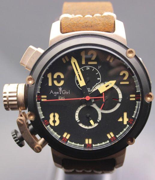 New Automatic Mechanical Men's U CHRONOMETER U1001 Watch U-51 Chimera Silver Aged Brown Cow Leather Boat Watch Black Gold