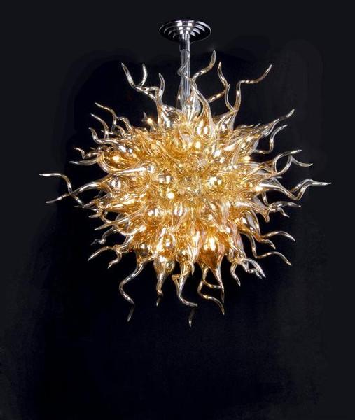 Modern Home Decor Art Lighting Fixture 100% Hand Blown Glass Shade Golden Chandelier Style Modern Crystal Pendant Lamp