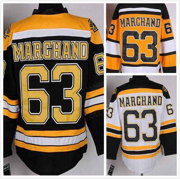 Barato Mens Brad Marchand Jersey 63 Boston Hóquei No Gelo Jersey 100% Costurado 2016 Preto Amarelo Branco Tamanho M-3XL Frete Grátis