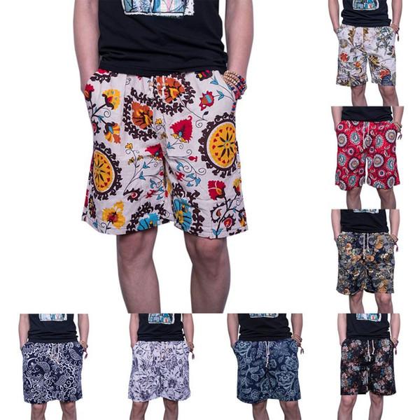 2018 Verano Pantalones Cortos Casual Hombres Pantalones de Camuflaje Masculino Flores de Moda Impresión Recta Corta Playa Ropa de Hombre venta caliente