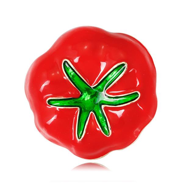Rote Tomaten Brosche Grünes Blatt Pflanze Brosche Gemüse Broschen Corsage Clips Für Anzug Schal Kleid Frauen Dame Schmuck