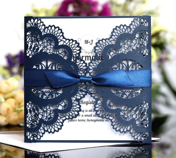 Vintage Lace Wedding Invitation Cards Laser Cut Hollow Flowers Personalized Ribbon Bow Knot Wedding Invitations Cards With Envelope