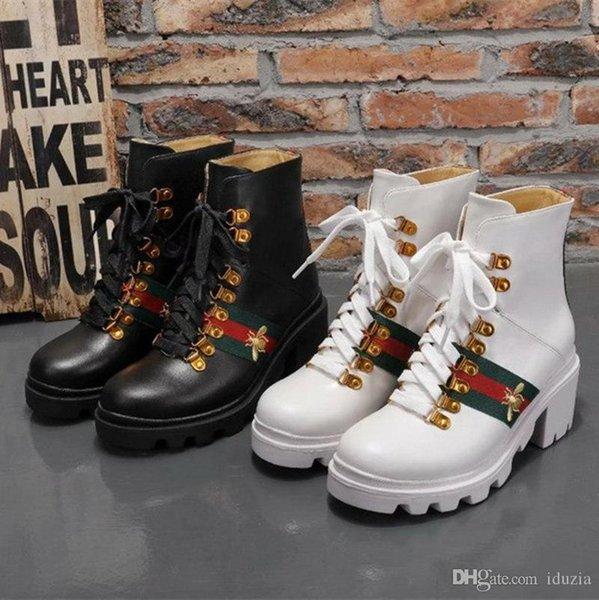 18ss European station metal buckle chunkly heel leather round toe lace-up Martin boots low heels zipper leather boots size 35-40