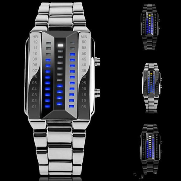 2018 Yeni Moda Yüksek Kalite Erkekler 50 M Su Geçirmez Mavi İkili Aydınlık LED Elektronik Ekran Arka Işık Saatler Kadınlar Kol Saati