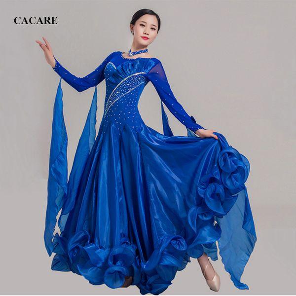 Ballroom Dance Competition Dresses Standard Dance Dresses Ballroom Waltz Dress D0455 Long Sleeve 11 Colors Big Ruffled Hem