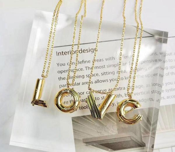 Yeni yüksek kalite moda marka paslanmaz çelik kolye 18 K altın 26 mektup kolye moda hipsters ve çiftler için uygun hediye