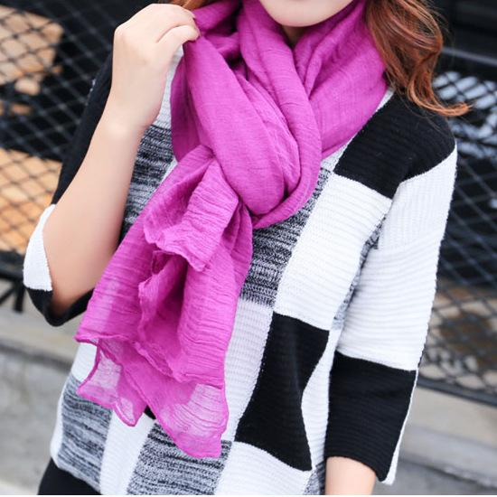 Women 2017 New Spring Summer Long Scarf Women Solid Pure Color Soft Linen Cotton 180CM*60CM