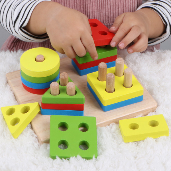 Spedizione gratuita Montessori Early Learning Educational Toys boy baby 1-2-3 anni Neonata Young kids shape pair Building Blocks Jigsaw