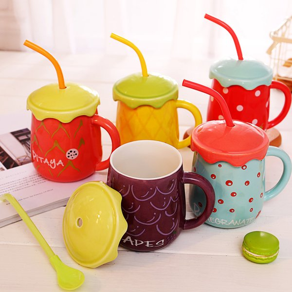 Fruit mug creative cover ceramic cup straw cup big belly gift Watermelon Cantaloupe Happy Mug Coffee Milk Office CL11071