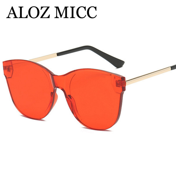 ALOZ MICC New Rimless Sunglasses Women Brand Designer Cat eye Sun Glasses for Female 2018 Fashion Clear Candy Color Eyewear A610