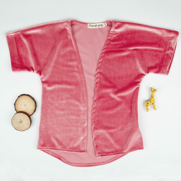 best selling Baby Girls pleuche short sleeve cape coat 2-5T kids fashion polyester velvet cardigan pink loose coat