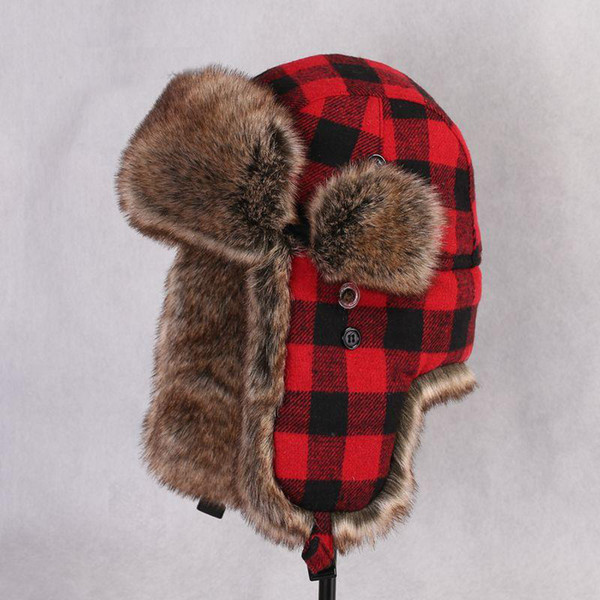 Women men winter thick keep ear warm faux fur trapper hats red plaid adjustable outdoor snow caps gray cotton wool skiing russian ushanka
