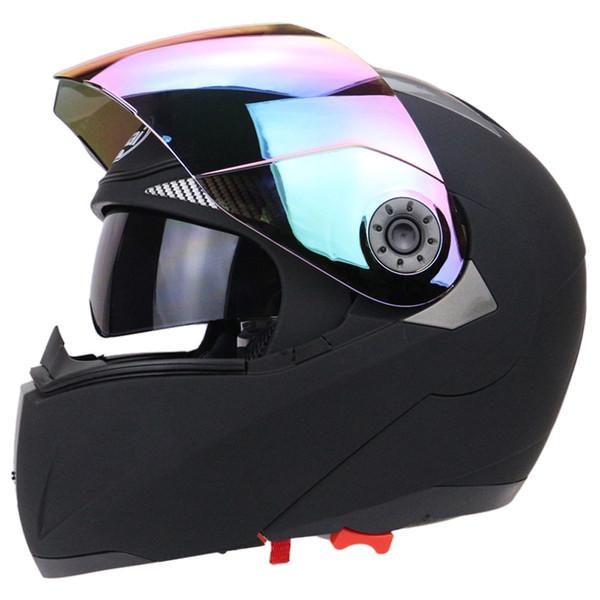 Motorradhelm Vollgesicht Motorradhelm Dual Visier mit Buntes Schild Vollgesichtsobjektiv Visier Sommer Winter Männer Roller