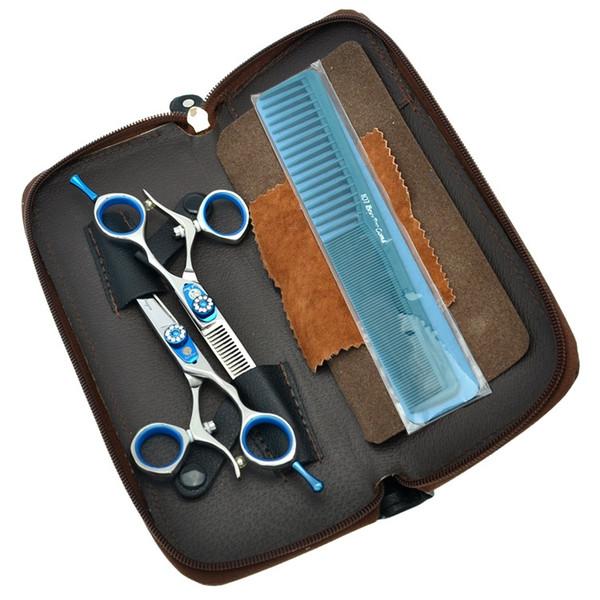 "Purple Dragon 5.5"" 6.0"" Hairdressers 360 Degree Rotation Cutting Scissors&Thinning Shears 2pcs/Kits Hair Tesoura with Blue Diamond LZS0446"