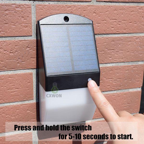 best selling Solar Powered Wall Mount Lights Radar Motion Sensor Landscape Garden Yard Fence Outdoor cool white and Dim Warm Lights