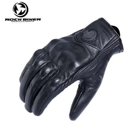 ROCK BIKER Retro Full Finger Motorcycle Gloves Leather Summer Men Cycling Moto Motorbike Protective Gears Motocross Glove