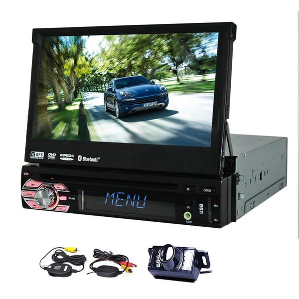 Single Din In Dash Car Stereo GPS car DVD Player 1 Din Navigation Car Radio Bluetooth/Subwoofer/USB/SD Input+Wireless Rear Camera