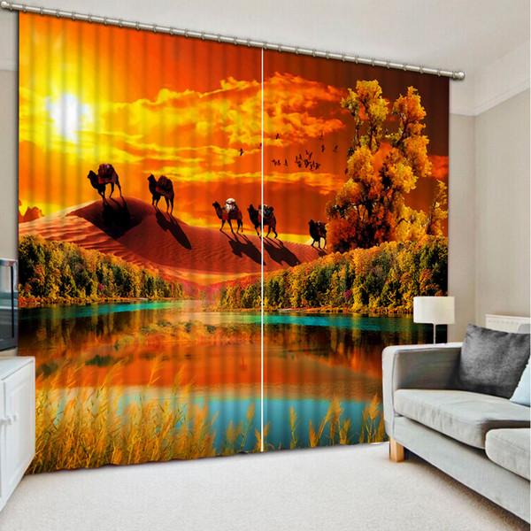Moderne Vorhang Dekoration Malerei Vorhänge Wüstenlandschaft 3D Gardinen  Für Wohnzimmer Schlafzimmer Vorhang Dekoration