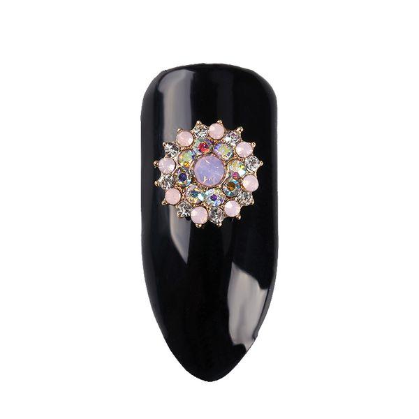 10Pcs/Lot Nails Decoration Golden Metal Round Shining Diamond Flowers Design 3D Glitter Rhinestones For Nail Art Decor TN2220