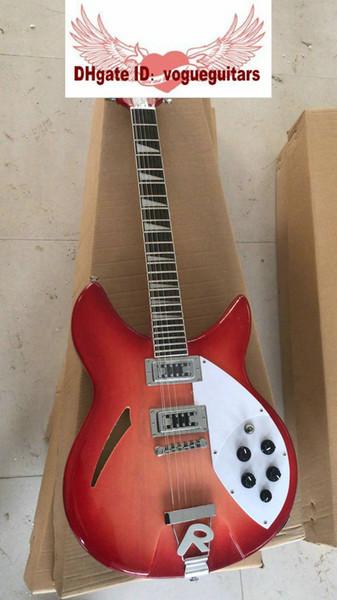 Custom Cherry Sunburst 360 12 cordes Guitare Électrique Semi Hollow Body guitar Livraison gratuite