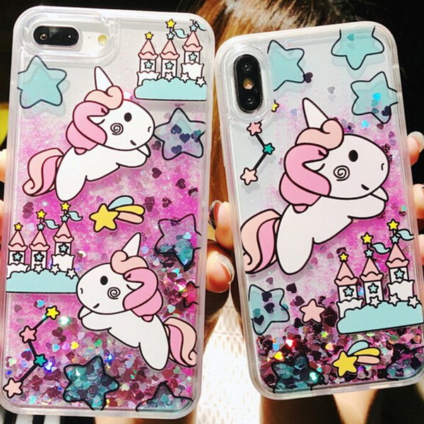 Glitter Liquid Quicksand Phone Cases for iPhone 6 6s Plus Case Bling Unicorn Water Sequins Paris for iPhone 7 8 Plus X Case 100pcs