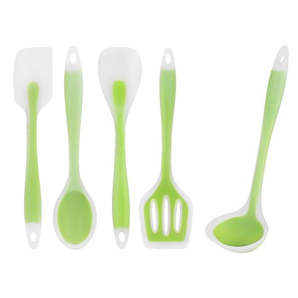 Behokic 5pcs Kitchen Silicone Heat Resistant Non Stick Cooking Utensil Set Scraper Ladle Spoon Spatula Green Kitchen Accessories
