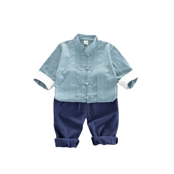 Little Boy Solid Tang Suit Clothing Set Kids Autumn Chinese Outfits Children Words Clothes Baby Clothing Infant Babies Clothing 80-110 CM