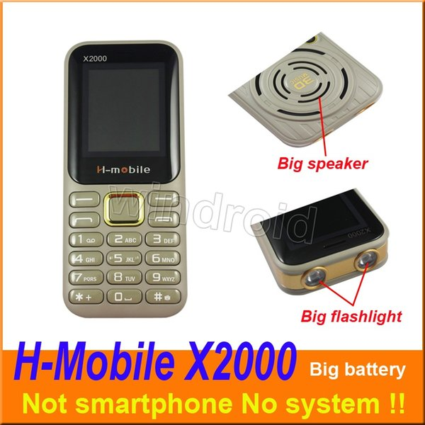 1.8 inch H-mobile X2000 Mobile Not smart phone 2G Unlocked Quad Band Camera Big Flashlight battery speaker whats app cell Phone Cheap DHL