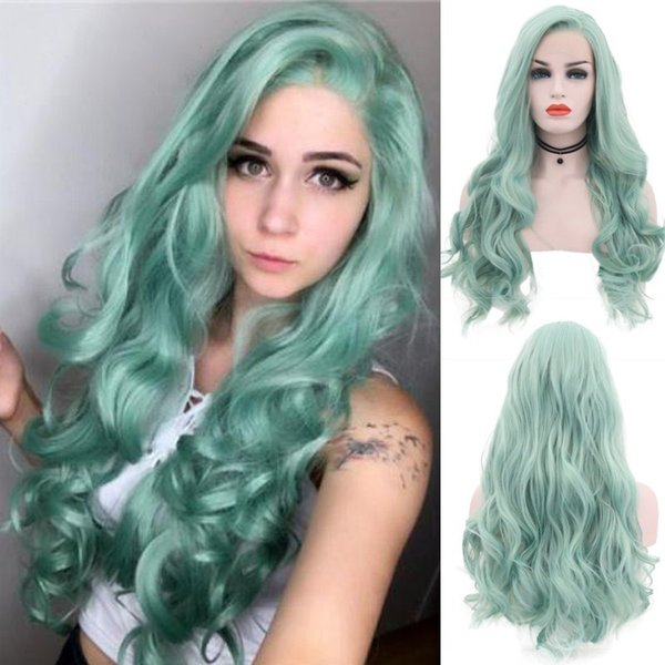 New Green Color Body Wave Synthetic Wigs High Quality Lace Front Cosplay Wigs 24 Inch Combs Inside With Natural Hairline Wigs For Women